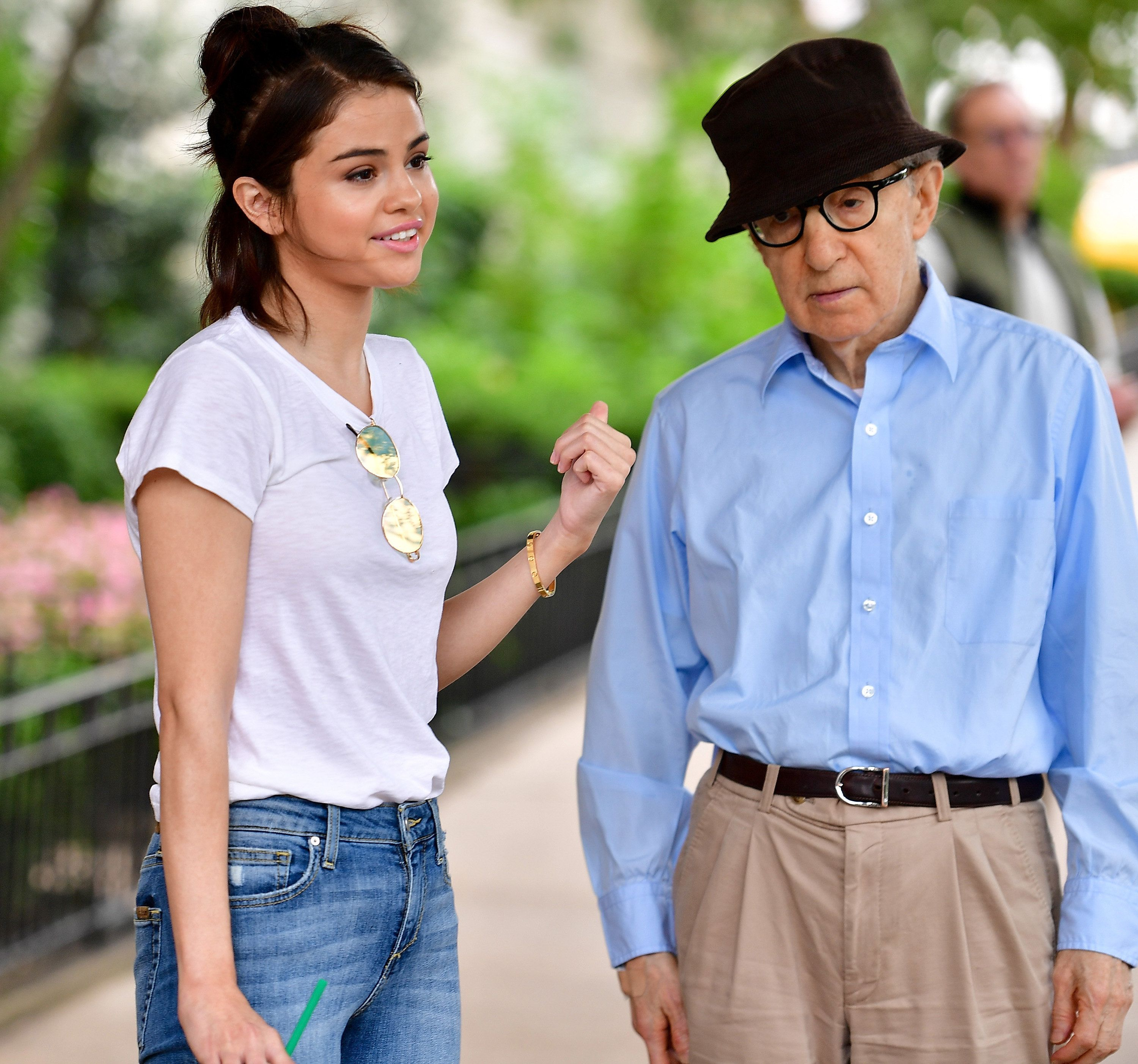 NEW YORK, NY - SEPTEMBER 20:  Selena Gomez and Woody Allen seen on location for Woody Allen's untitled movie on September 20, 2017 in New York City.  (Photo by James Devaney/GC Images)