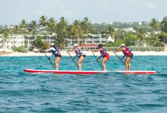 Team Red SUP Ladies leading 9K Downwinder - Noriko Okaya, Kaity Wong, Vildan Isildar Manzo & Jennifer Hung.