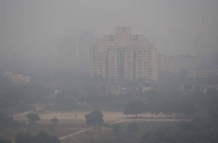 Heavy smog engulfed Gurgaon, India, a city southwest of New Delhi in North India. The air quality index was at 320, which agencies consider unfit for inhalation even by healthy people and which made commuting difficult. December 2017.