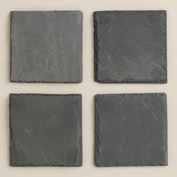 "Get the set of 4 <a href=""https://www.worldmarket.com/product/square+slate+coasters%2C+set+of+4.do?sortby=ourPicks&from=f"