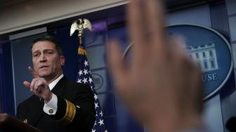 WASHINGTON, DC - JANUARY 16:  Physician to U.S. President Donald Trump Dr. Ronny Jackson speaks during the daily White House press briefing at the James Brady Press Briefing Room of the White House January 16, 2018 in Washington, DC. Dr. Jackson discussed the details of President TrumpÕs physical check-up from last week.  (Photo by Alex Wong/Getty Images)