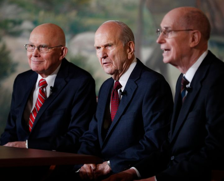 Russell M. Nelson (center), First Counselor Dallin H. Oaks (left), and Second Counselor Henry B. Eyring (right) answer press