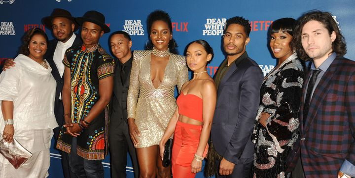 """Cast and crew members of """"Dear White People"""" pose for a group photo in Los Angeles on April 27, 2017."""