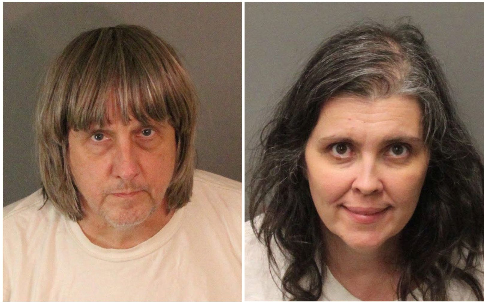 A combination photo of David Allen Turpin (L) and Louise Ann Turpin as they appear in booking photos provided by the Riverside County Sheriff's Department in Riverside County, California, U.S., January 15, 2018.   Riverside County Sheriff's Department/Handout via REUTERS   ATTENTION EDITORS - THIS IMAGE WAS PROVIDED BY A THIRD PARTY.   THIS PICTURE WAS PROCESSED BY REUTERS TO ENHANCE QUALITY. AN UNPROCESSED VERSION HAS BEEN PROVIDED SEPARATELY