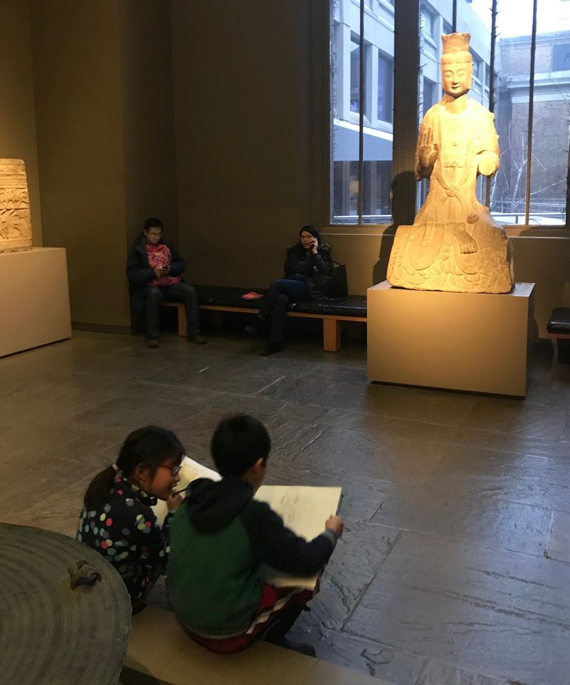 Children sketching at the MFA