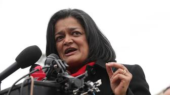 WASHINGTON, DC - FEBRUARY 01:  U.S. Rep. Pramila Jayapal (D-WA) speaks during a news conference in front of the Capitol February 1, 2017 on Capitol Hill in Washington, DC. Rep. Keith Ellison (D-MN) hosted the press conference to discuss President Donald Trump's travel ban, which prevents immigrants and refugees from seven Muslim-majority countries from entering the U.S,  and objections to Senator Jeff Sessions' nomination to the position of Attorney General.  (Photo by Alex Wong/Getty Images)