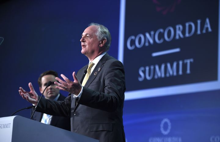 <p>NEW YORK, NY - SEPTEMBER 20: Chief Executive Officer, Unilever Paul Polman receives an award at the 2016 Concordia Annual Summit on September 20, 2016 in New York City. </p>