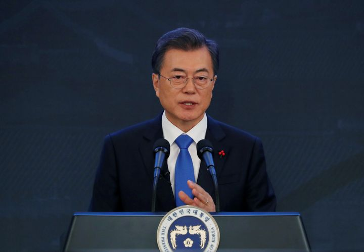 South Korean President Moon Jae-In delivers a speech during his New Year news conference at the Presidential Blue House in Se