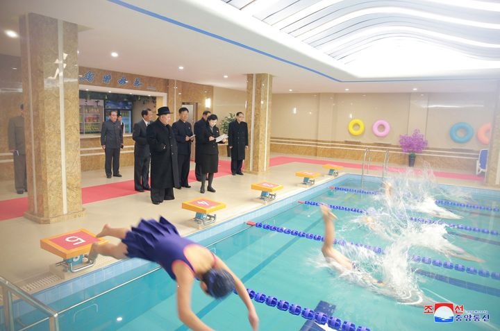 North Korean leader Kim Jong Un visits the newly-remodeled Pyongyang Teacher Training College, in this photo released by Nort