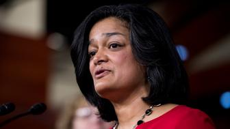 UNITED STATES - FEBRUARY 15: Rep. Pramila Jayapal, D-Wash., participates in the House Democrats' news conference 'to hold President Trump accountable for his failed vision for America that has weakened our national security and dishonors our values as a nation' in the Capitol on Wednesday, Feb. 15, 2017. (Photo By Bill Clark/CQ Roll Call)