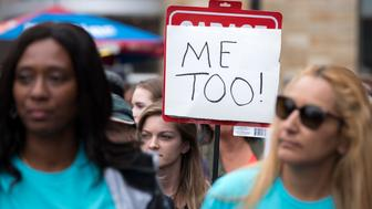 Protesters attend a Me Too rally to denounce sexual harassment and assaults of women in Los Angeles, California on November 12, 2017. The rally is inspired by a social media campaign #MeToo which become viral following the allegations of sexual misconduct and rape by Hollywood producer Harvey Weinstein. (Photo by: Ronen Tivony) (Photo by Ronen Tivony/NurPhoto via Getty Images)