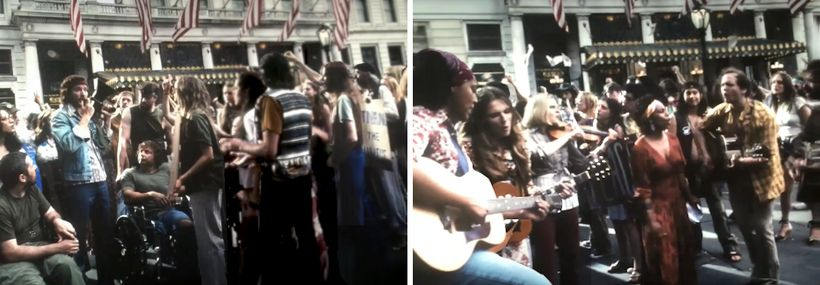 "<strong>Two shots from The Post's protest scene during which Mario Savio's famous ""You've Got To Put Your Bodies Upon the"