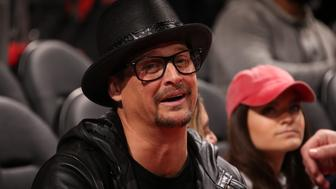 AUBURN HILLS, MI - JANUARY 6: Music Artist Kid Rock enjoys the game between the Houston Rockets and Detroit Pistons on January 6, 2018 at Little Caesars Arena in Detroit, Michigan. NOTE TO USER: User expressly acknowledges and agrees that, by downloading and/or using this photograph, User is consenting to the terms and conditions of the Getty Images License Agreement. Mandatory Copyright Notice: Copyright 2018 NBAE (Photo by Brian Sevald/NBAE via Getty Images)