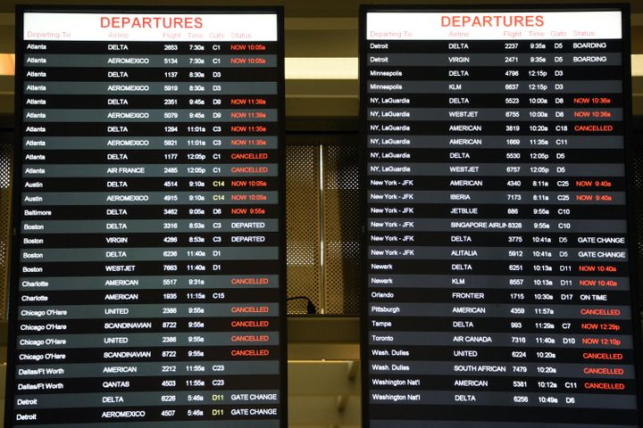 Multiple flights have been canceled or delayed at the Raleigh-Durham International Airport becauseof bad weather.