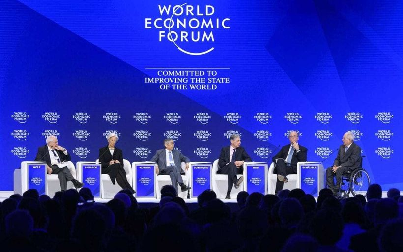 A panel discussion at last year's World Economic Forum (Credit: AFP PHOTO / FABRICE COFFRINI)