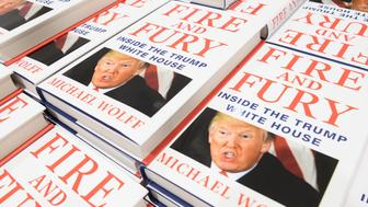 LONDON, ENGLAND - JANUARY 09:  One of the first consignments of copies of 'Fire and Fury', Michael Wolff's book on President Trump's Presidency is displayed at Waterstones, Piccadilly on January 9, 2018 in London, England.  The book is already a bestseller with over a million orders in the US alone.  (Photo by Leon Neal/Getty Images)