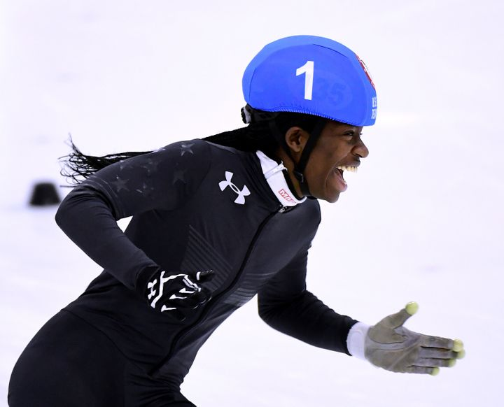 Biney celebrating her victory during the Olympic team trials in December 2017.