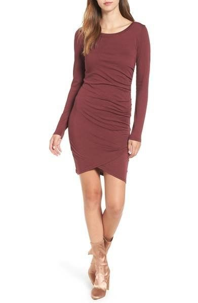 """Take this <a href=""""https://shop.nordstrom.com/s/leith-ruched-long-sleeve-dress-nordstrom-online-exclusive/3738991?origin=keyw"""