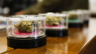 Marijuana is displayed for sale at the MedMen dispensary in West Hollywood, California, U.S., on Tuesday, Jan. 2, 2018. California launched legal marijuana Monday, and customers lined up to celebrate the historic moment in San Diego, Sacramento and Oakland -- some of the municipalities given the green light to start sales on January 1. Meantime, in Los Angeles and San Francisco, the state's first- and fourth-largest cities, customers were turned away empty handed. Photographer: Patrick T. Fallon/Bloomberg via Getty Images