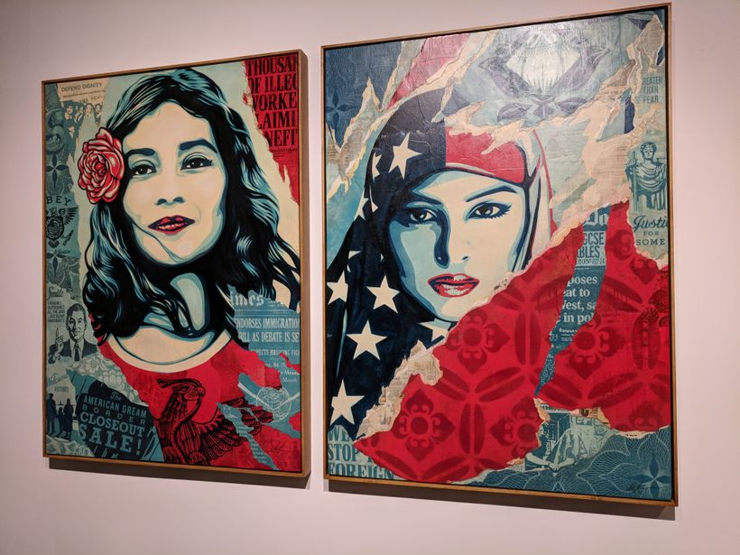 Art from the 2017 Women's March appears in the INTO ACTION! Art Exhibit this week in downtown Los Angeles.