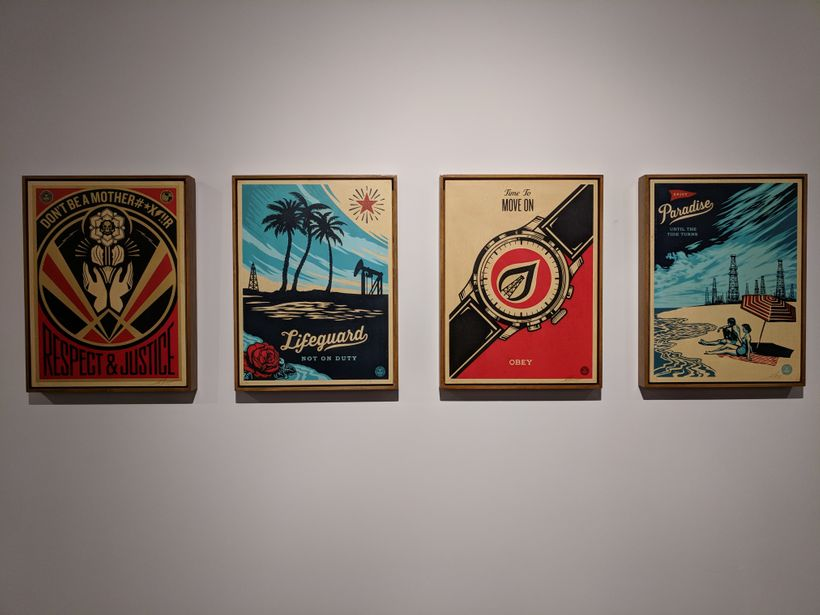Shepard Fairey's artwork on display at this week's INTO ACTION! exhibition in downtown Los Angeles.