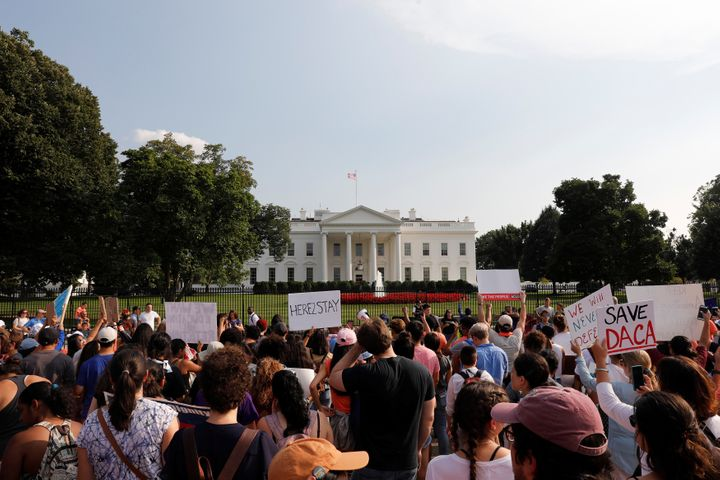 Protesters gather outside the White House on Sept. 5 to protest President Donald Trump's plan to repeal the Deferred Action f