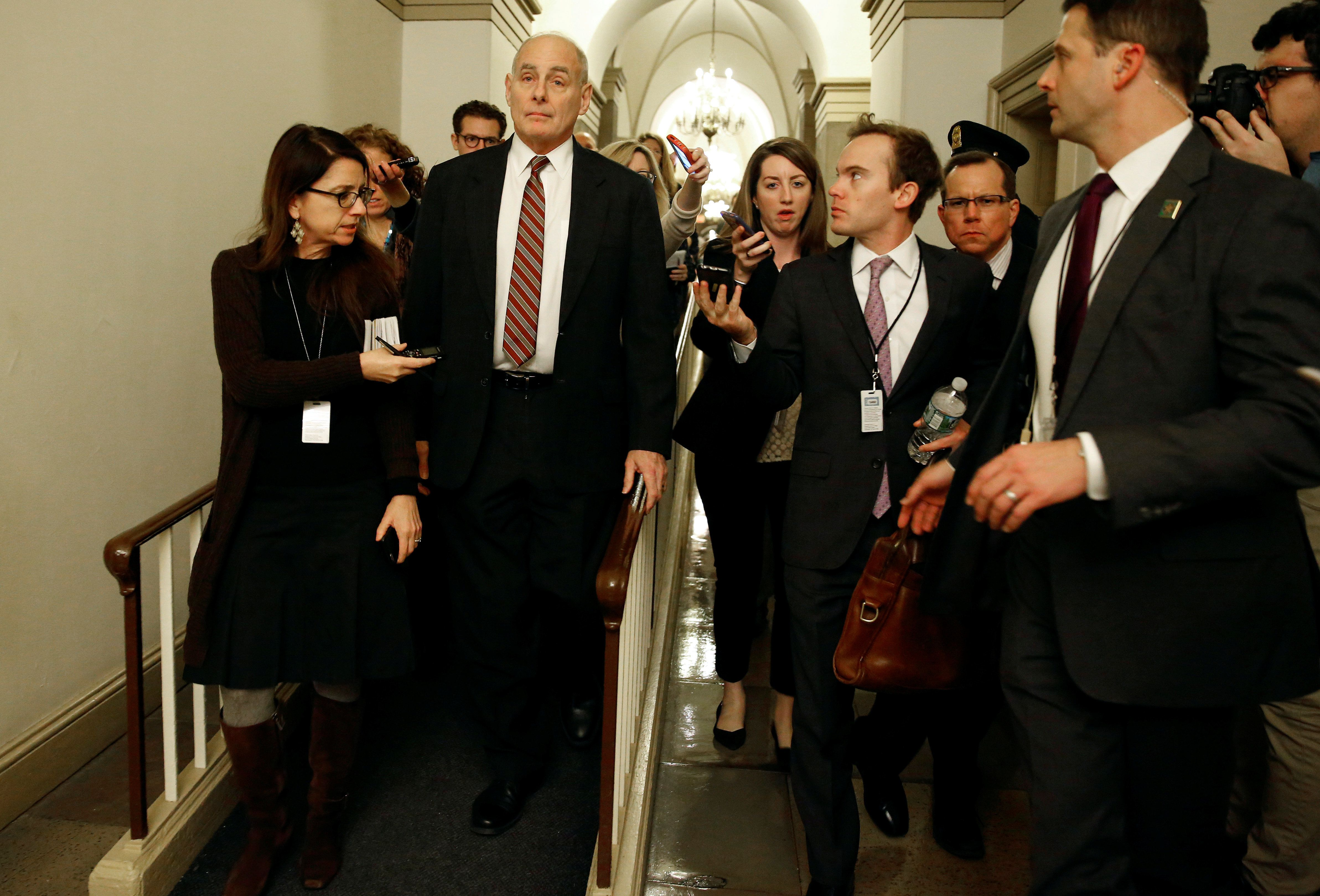 White House Chief of Staff John Kelly arrives for a meeting with House Majority Leader Kevin McCarthy (R-CA) on Capitol Hill in Washington, U.S., January 17, 2018.      REUTERS/Joshua Roberts