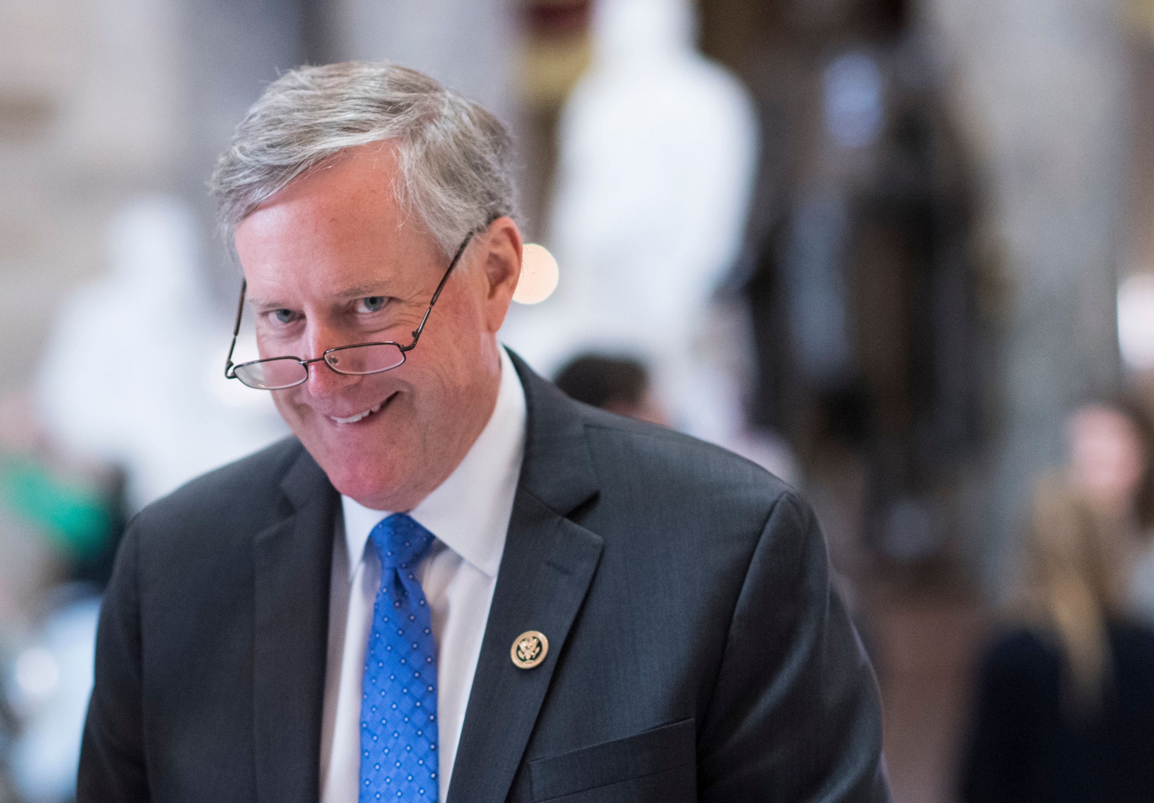 UNITED STATES - MARCH 22: Rep. Mark Meadows, R-N.C., chairman of the House Freedom Caucus, walks through Statuary Hall in the Capitol on Wednesday, March 22, 2017. (Photo By Bill Clark/CQ Roll Call)