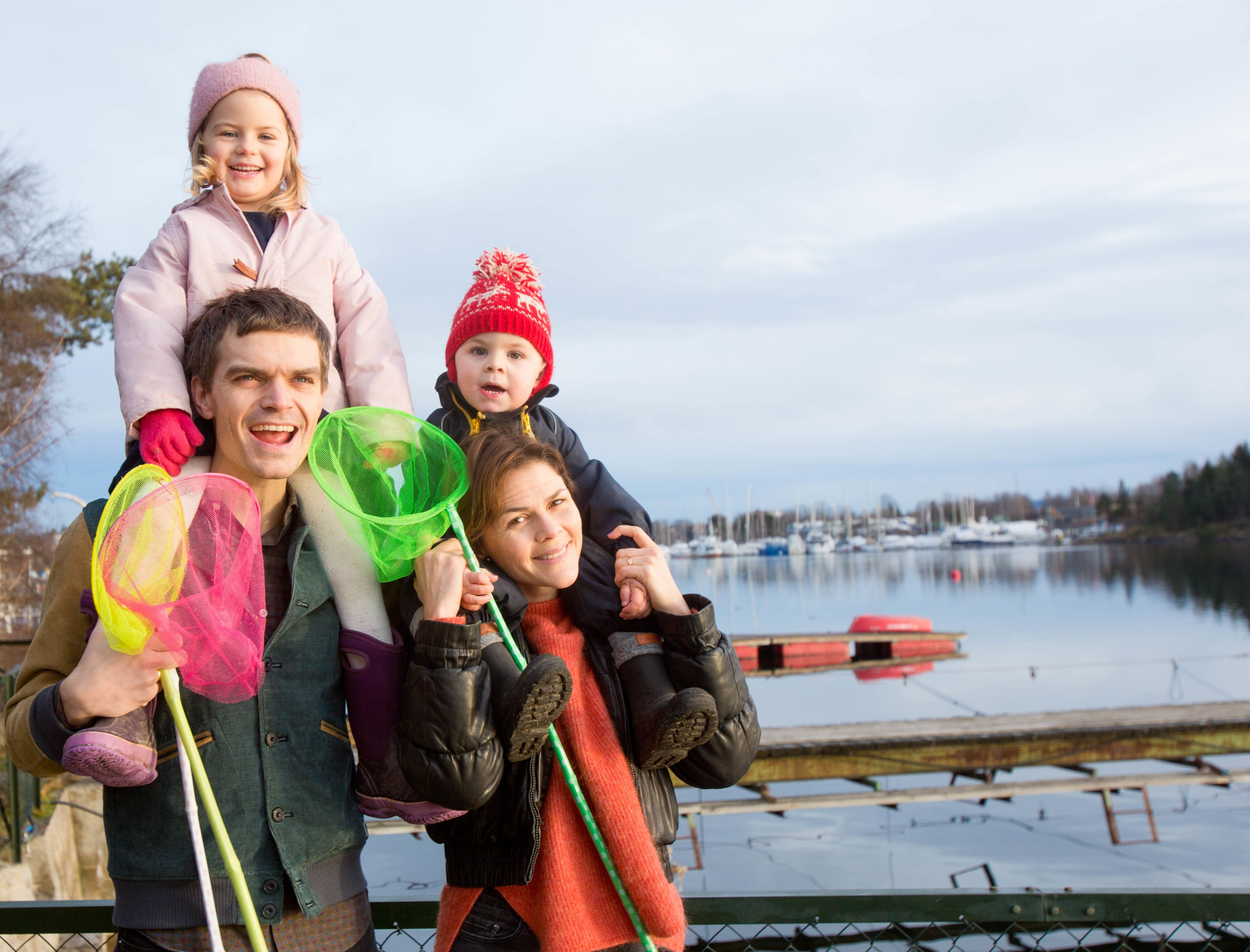Simon and Julie Irgens withtwo of their children in Oslo, Norway. They have benefited from generous government parental
