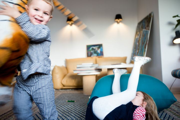 Inez and Axel Irgens having fun at home.