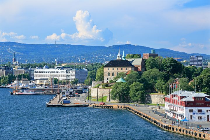 A view of the port in Oslo, Norway.