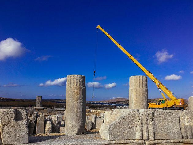 Ολοκληρώθηκαν οι προκαταρκτικές εργασίες για την αναστήλωση της Στοάς του Φιλίππου Ε' στη Δήλο