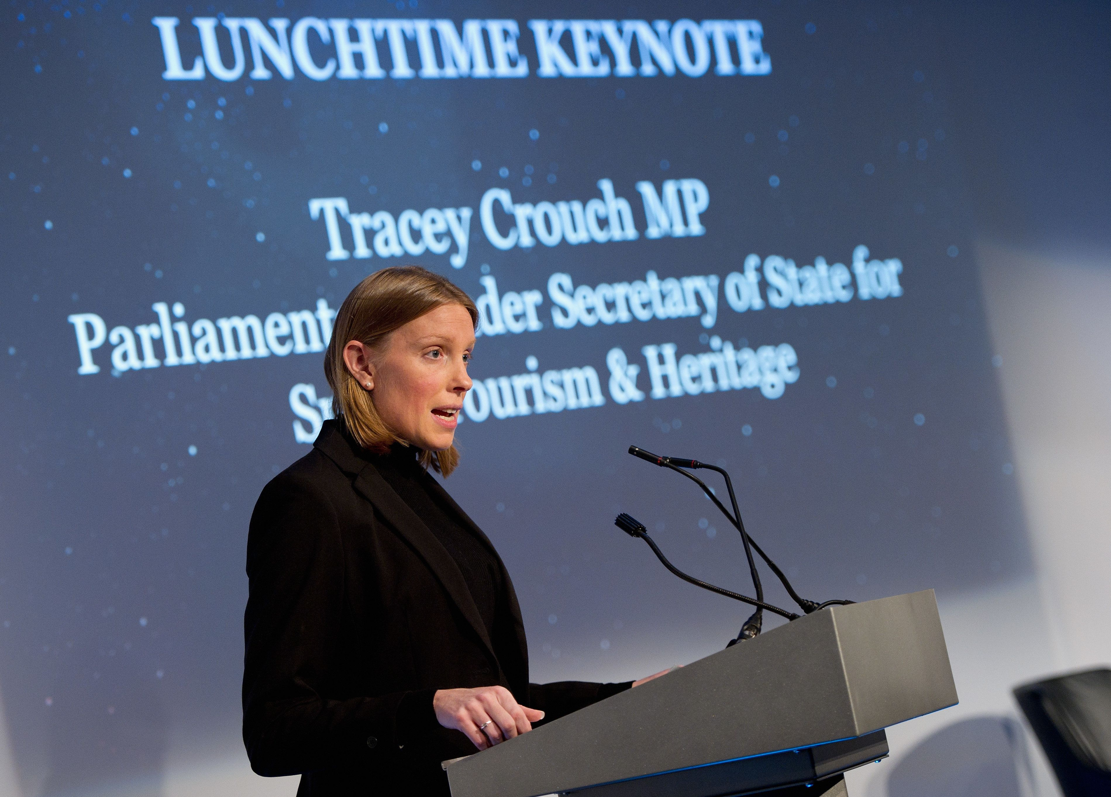 LONDON, ENGLAND - OCTOBER 19:  Tracey Crouch MP, Parliamentary Under Secretary of State for Sport, Tourism and Heritage at the Beyond Sport Summit on October 19, 2015 in London, England.  (Photo by Eamonn M. McCormack/Getty Images for Beyond Sport)