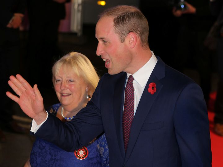 Prince William waves as he arrives for the Pride of Britain Awards in London on Oct. 30, 2017.