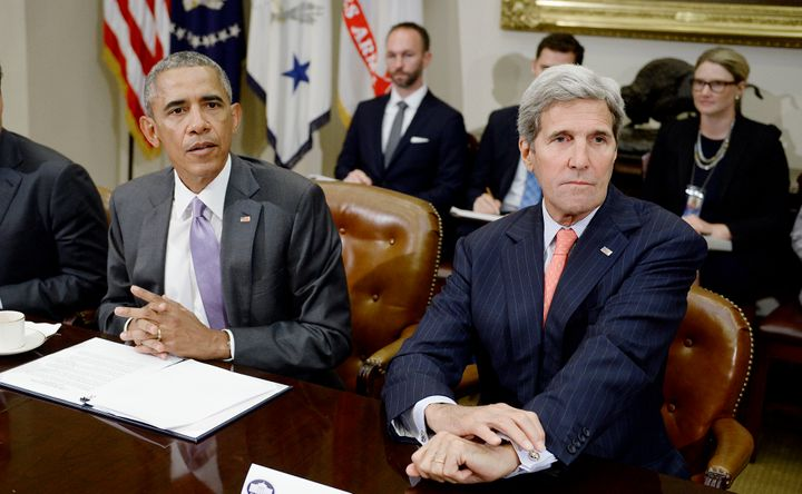 Then-President Barack Obama and his secretary of state, John Kerry, discuss the Iran nuclear deal at the White House in Septe