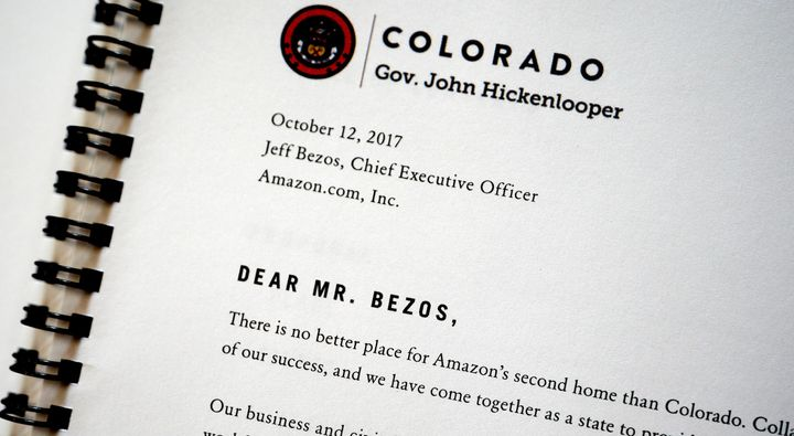 The HQ2 pitch from Golden, Colorado, included a letter from Gov. John Hickenlooper to Amazon CEO Jeff Bezos.