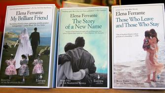 CAMBRIDGE , MA - APRIL 8: Elena Ferrante books are photographed at the Harvard Book Store in Cambridge, Mass., on April 8, 2016. (Photo by Jonathan Wiggs/The Boston Globe via Getty Images)