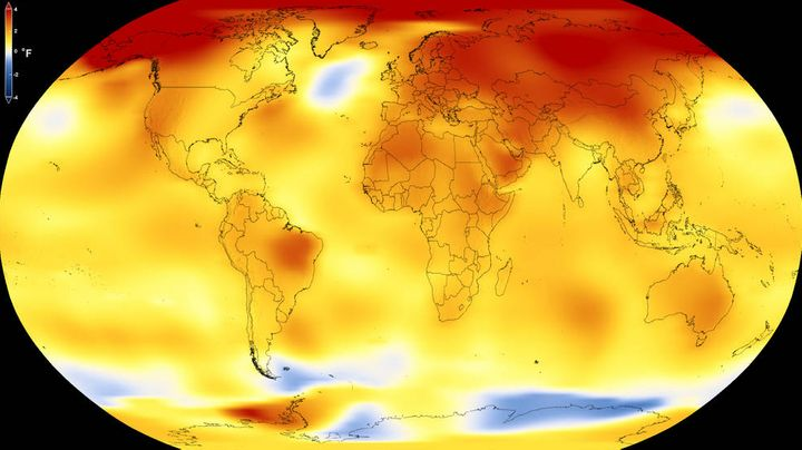 This map from NASA shows average global temperature from 2013 to 2017, as compared to a baseline average from 1951 to 1980. Y
