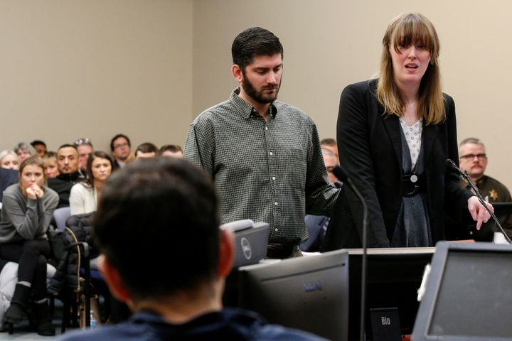 Jennifer Rood Bedford, who said she reported Nassar's abuse to MSU staff, reads her victim impact statement in court on Tuesd