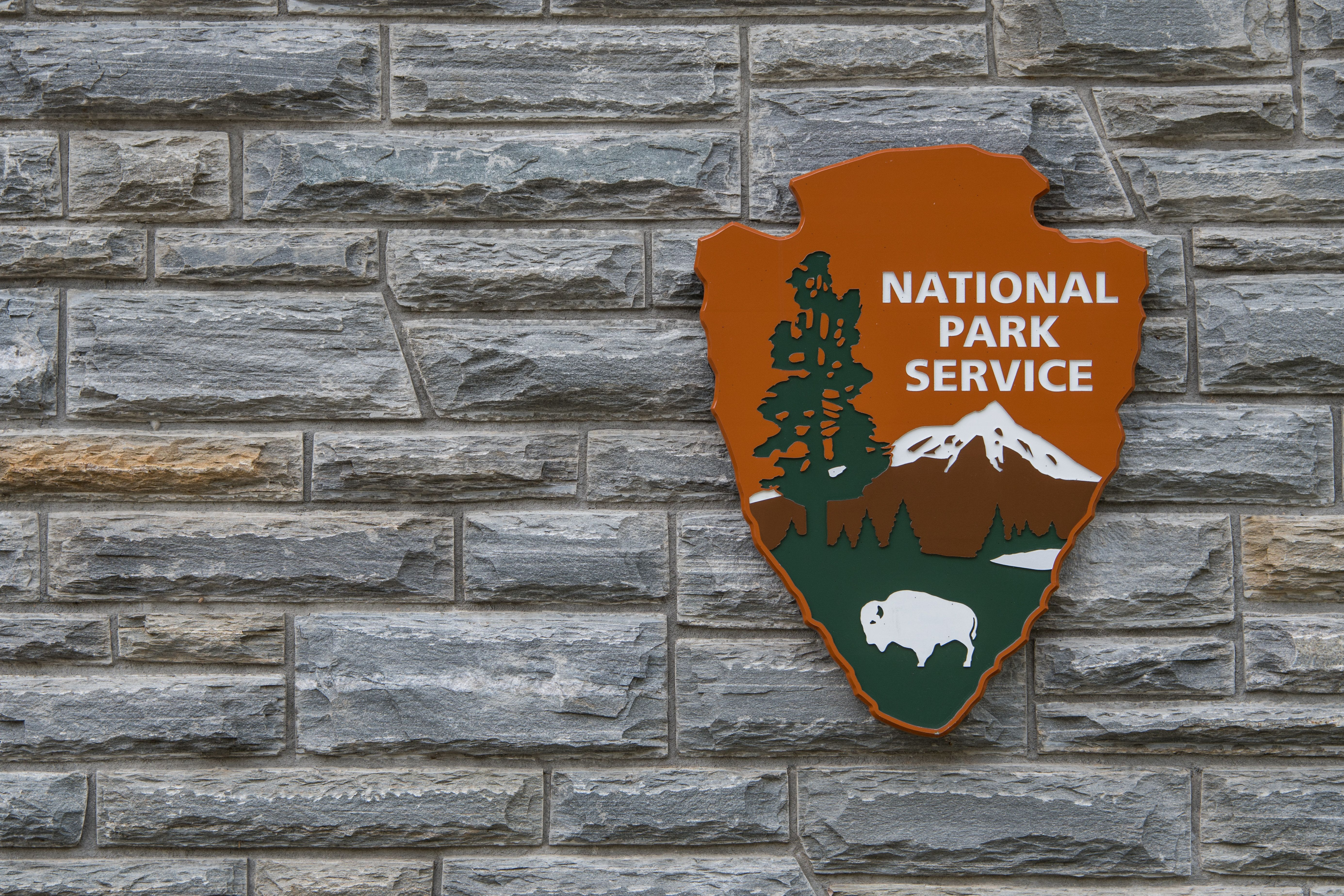 Cherokee, United States: April 16, 2017: National Park Service Sign With Copy Space to Left