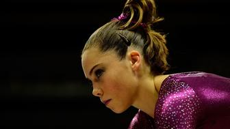 SAN JOSE, CA - JULY 01:  McKayla Maroney during practice before the start of day 4 of the 2012 U.S. Olympic Gymnastics Team Trials at HP Pavilion on July 1, 2012 in San Jose, California.  (Photo by Ronald Martinez/Getty Images)