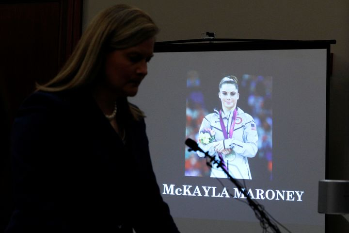 Prosecutor Angela Povilaitis reads Maroney's victim impact statement during Larry Nassar's sentence hearing on Thursday.&nbsp