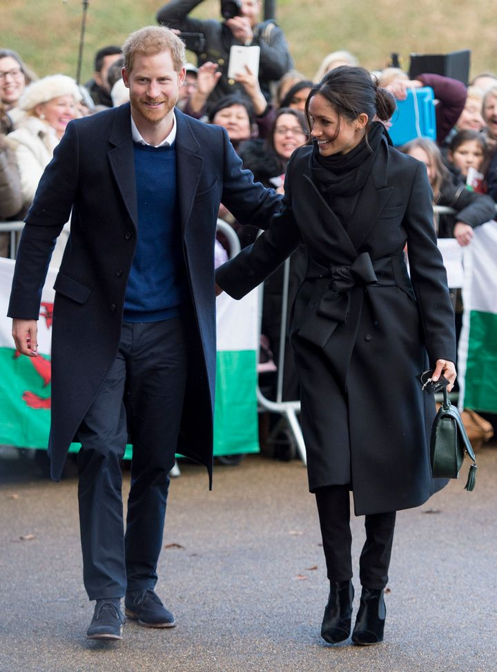 Prince Harry and Meghan Markle arrive at Cardiff Castle on Jan. 18, 2018.