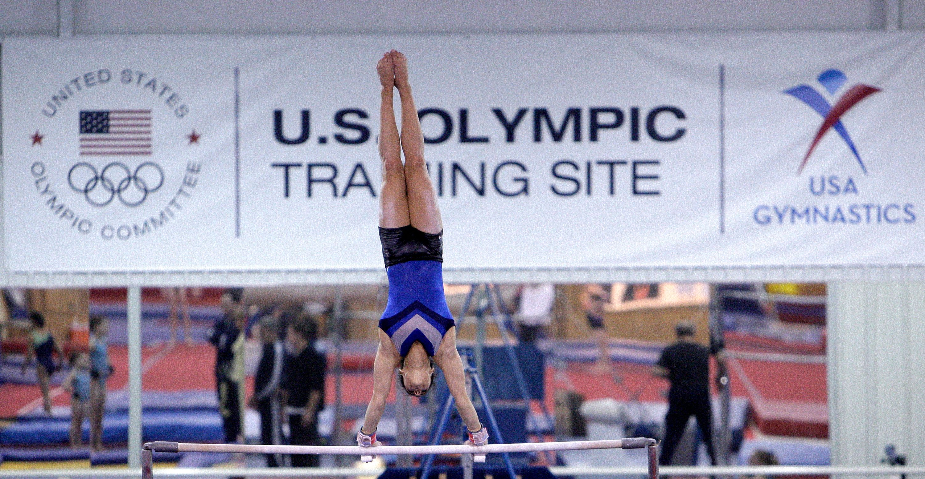 A gymnast works out at the Karolyi Ranch in Hunstville, Texas, on Jan. 26, 2011.