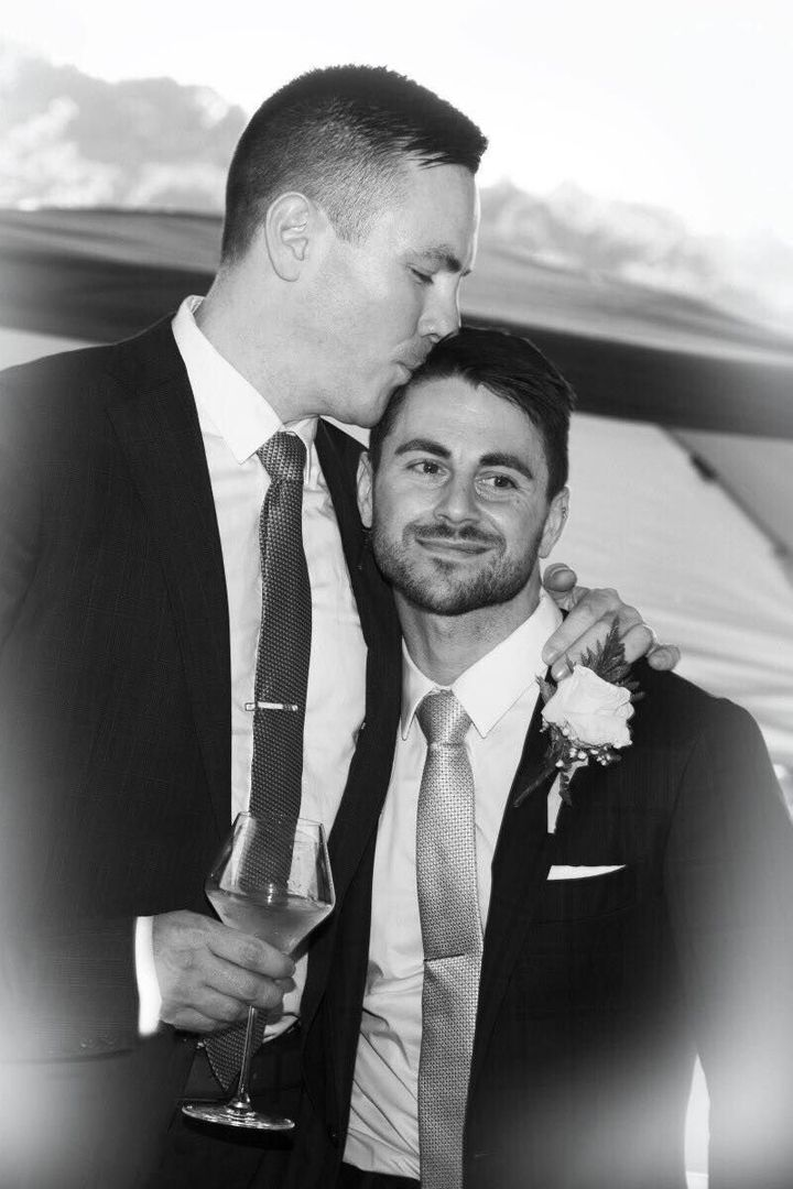 Stephen Heasley, left, and Andrew Borg at their September wedding.