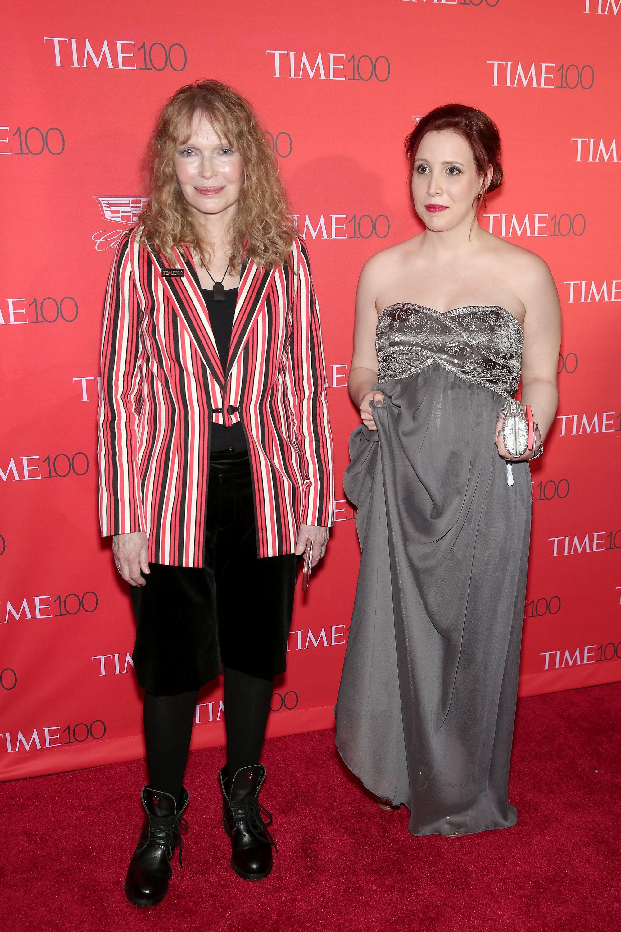 NEW YORK, NY - APRIL 26: Mia Farrow (L) and Dylan Farrow attend the 2016 Time 100 Gala at Frederick P. Rose Hall, Jazz at Lincoln Center on April 26, 2016 in New York City.  (Photo by Neilson Barnard/Getty Images)