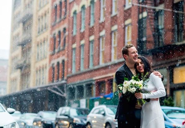"""""""I love New York City in the snow. It was the perfect backdrop for this city hall wedding with portraits in TriBeCa! Congrats"""