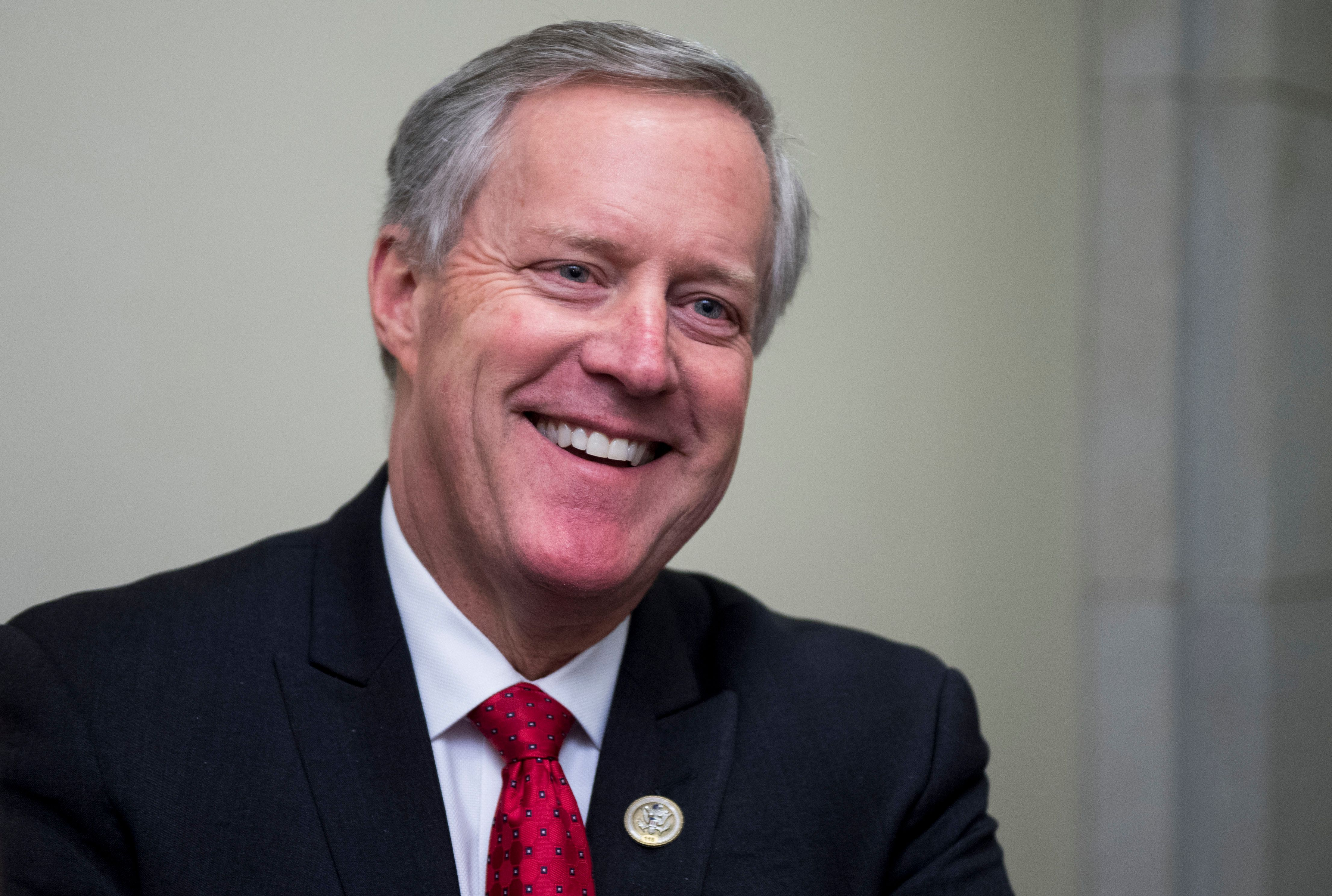 UNITED STATES - JANUARY 18: Rep. Mark Meadows, R-N.C., stops to speak with reporters about the continuing resolution as he walks through the Capitol Visitor Center on Thursday, Jan. 18, 2018(Photo By Bill Clark/CQ Roll Call)