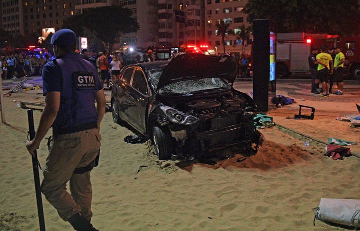 The car drove up onto Copacabana's tourist-packed seafront promenade in the heart of Rio de Janeiro on Thursday.
