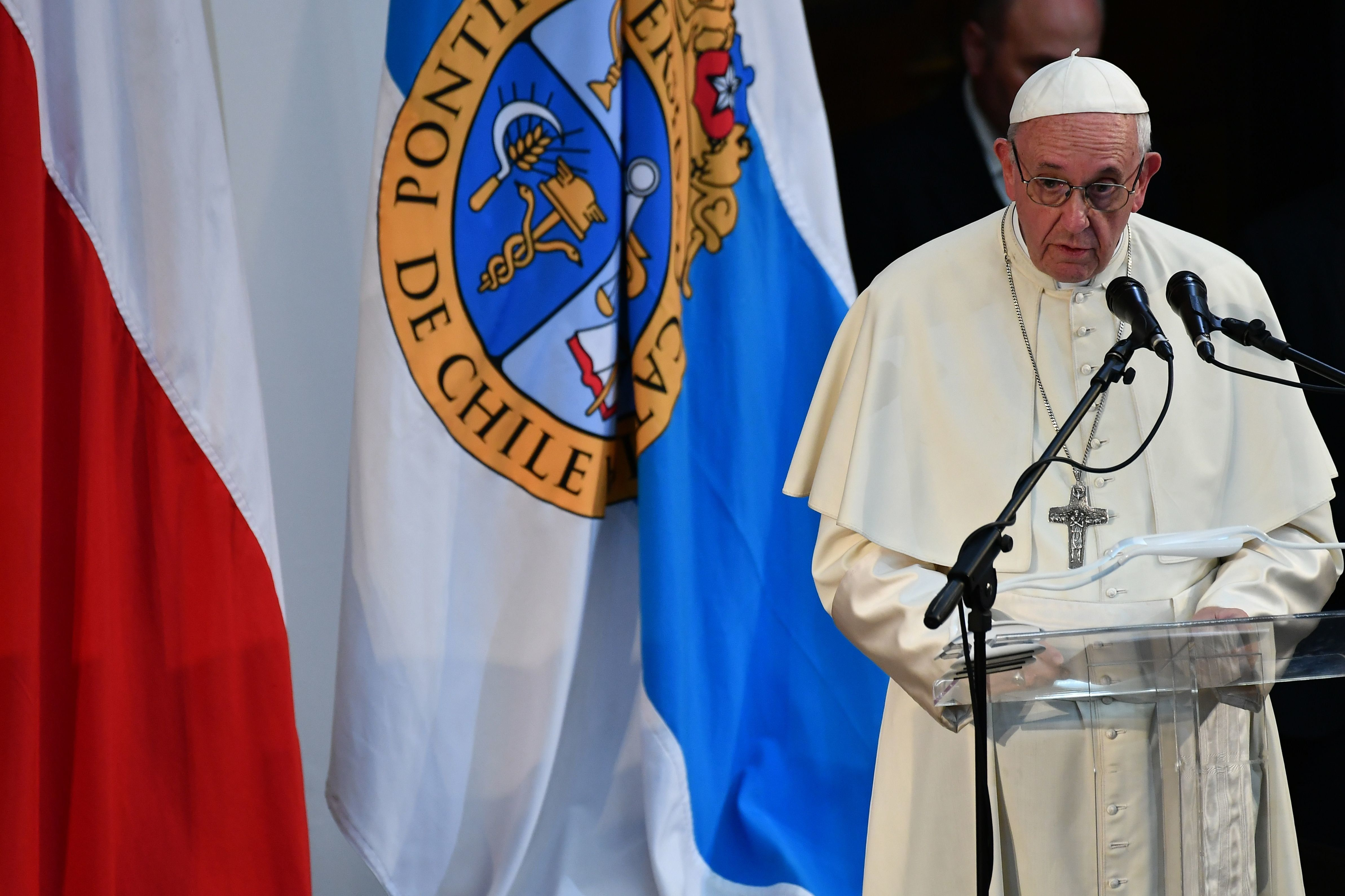 Pope Francis speaks at the Pontifical Catholic University of Chile, in Santiago on January 17, 2018. Pope Francis denounced the use of violence in the struggle for indigenous rights Wednesday, celebrating mass in a restive region of Chile, before heading back to Santiago to meet with young faithfuls. / AFP PHOTO / Vincenzo PINTO        (Photo credit should read VINCENZO PINTO/AFP/Getty Images)